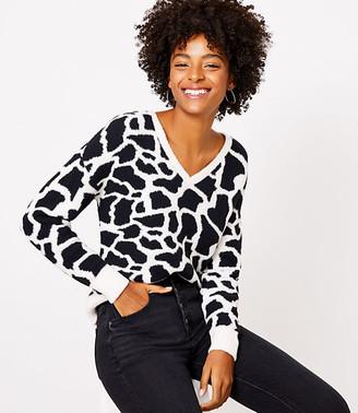 LOFT Petite Giraffe V-Neck Sweater
