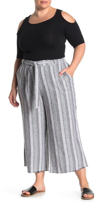 Caslon Striped Linen Blend Crop Pants