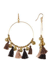 Chan Luu Tassel Bell Hoop Dangle Earrings