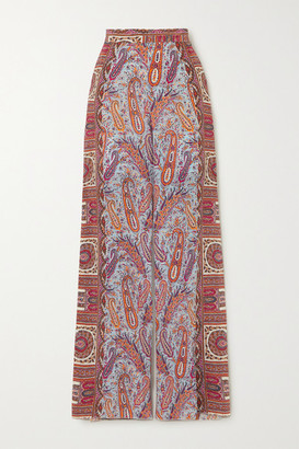 Etro Paisley-print Silk Crepe De Chine Wide-leg Pants - Light blue