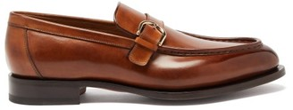 Santoni Colin Monkstrap Leather Loafers - Mens - Light Brown