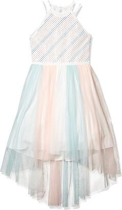 Speechless Girls' High Neck Party Dress with Mesh Skirt