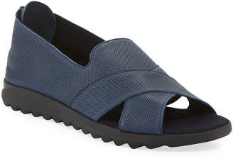 Sesto Meucci Tessa Perforated Leather Comfort Sandals, Navy