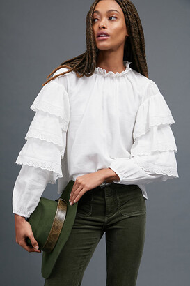 Gabriella Ruffled Blouse By Seen Worn Kept in White Size 4