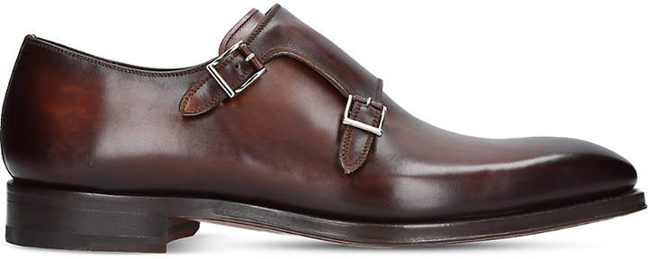 Magnanni Burnished leather double monk strap shoes