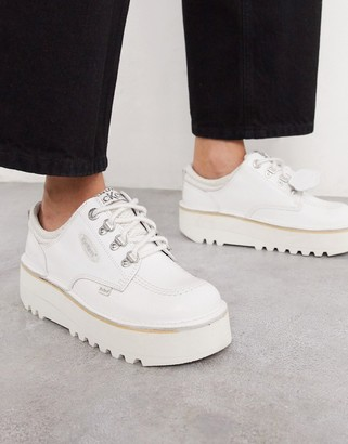 Kickers Kick Lo Cosmik chunky shoes in white