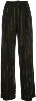 Vince High Waisted Striped Print Trousers