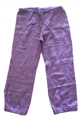 Stefanel Purple Linen Trousers for Women