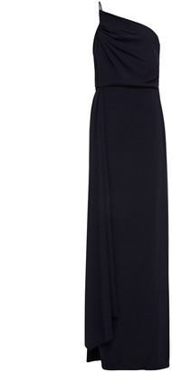 Halston One-shoulder Pleated Crepe Gown