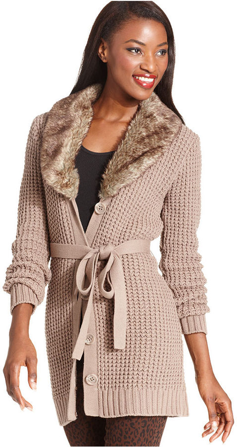 Style&Co. Sweater, Long-Sleeve Waffle-Knit Faux-Fur-Collar