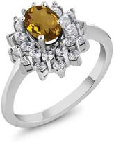 Gem Stone King 1.30 Ct Oval Whiskey Quartz 14K White Gold Ring