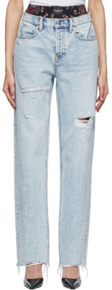 Alexander Wang Blue Silk and Denim Rival Mix Jeans