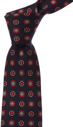 Kiton Navy & Red Flowers Silk Tie