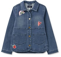Joules Girls' Cotton-Blend Chambray Patch Jacket - Little Kid, Big Kid