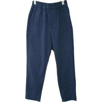 Toast Blue Wool Trousers for Women