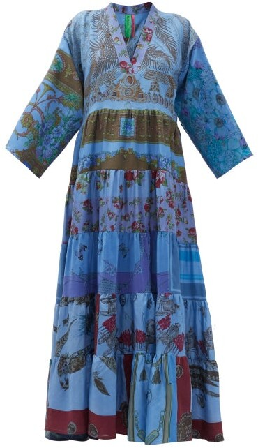 Thumbnail for your product : RIANNA + NINA Patchwork Vintage-silk Maxi Dress - Multi