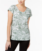 Style&Co. Style & Co Petite Marble-Print T-Shirt, Only at Macy's