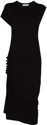 Paco Rabanne Ruched-Detail Asymmetric Midi Dress