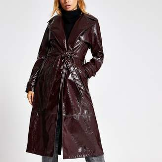 River Island Womens Dark Purple vinyl belted trench coat