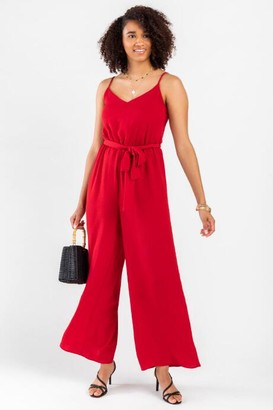 francesca's Max Smocked Back Jumpsuit - Wine