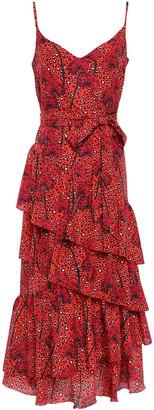 Borgo de Nor Coco Tiered Printed Crepe De Chine Maxi Dress