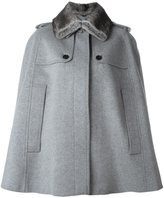 Burberry fur-collar cape coat
