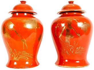 One Kings Lane Vintage Pair Oriental Porcelain Decorative Urn - La Maison Supreme