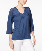 Style&Co. Style & Co Petite Crochet-Detail Bell-Sleeve Top, Only at Macy's