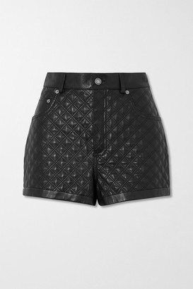 Saint Laurent Quilted Padded Leather Shorts - Black