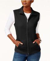 Karen Scott Quilted Fleece Vest, Only at Macy's