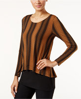Alfani Printed Overlay Top, Only at Macy's