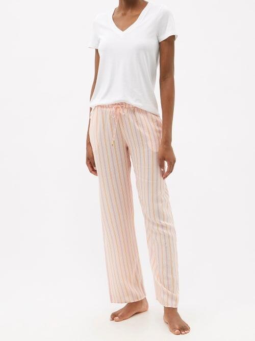 Thumbnail for your product : Hanro Sleep & Lounge Striped Poplin Trousers - Orange Stripe