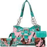 Cowgirl Trendy Western Concealed Carry Camouflage Belts Buckle Purse Handbag Shoulder Bag Wallet Set