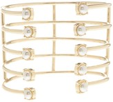 Steve Madden Multi-Band Synthetic Pearl Accented Open Cuff Bracelet