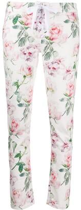 Laneus Rose Print Skinny Trousers