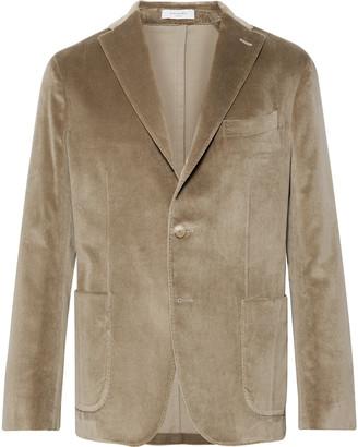 Boglioli Beige K-Jacket Slim-Fit Unstructured Cotton-Blend Velvet Blazer