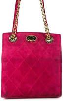 Escada Pink Suede Quilted Shoulder Bag Chain Strap Shoulder Handbag