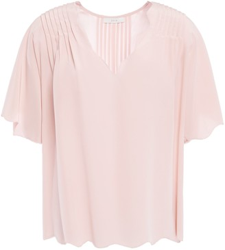Joie Binna Scalloped Pintucked Silk Crepe De Chine Top