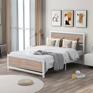 Merax Metal and Wood Bed Frame with Headboard and Footboard