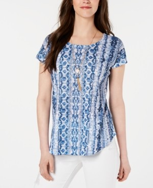 Style&Co. Style & Co Petite Printed Top, Created for Macy's