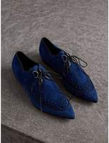 Burberry Woven-toe Suede Derby Shoes