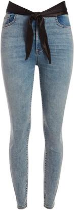 Alice + Olivia Good Leather Tie Waist Skinny Jean