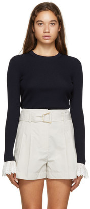 Chloé Navy Wool Ribbed Sweater