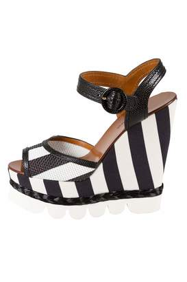 Dolce & Gabbana Monochrome Leather And Lizard Embossed Leather Ankle Strap Platform Wedge Sandals Size 38