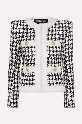 Balmain Button-embellished Houndstooth Tweed Blazer - Black