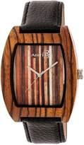 Earth Wood Men's Cedar Leather Strap Wood Watch, 44mm