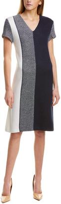 St. John Modern Textured Wool-Blend Shift Dress