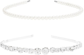Jon Richard Jewellery Silver, Plated, Crystal, And, Pearl, 2, Pack, Headbands