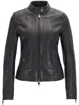 BOSS Biker jacket in structured nappa leather with stand collar