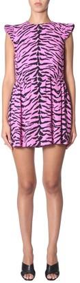 Saint Laurent Zebra Printed Cap Sleeve Dress